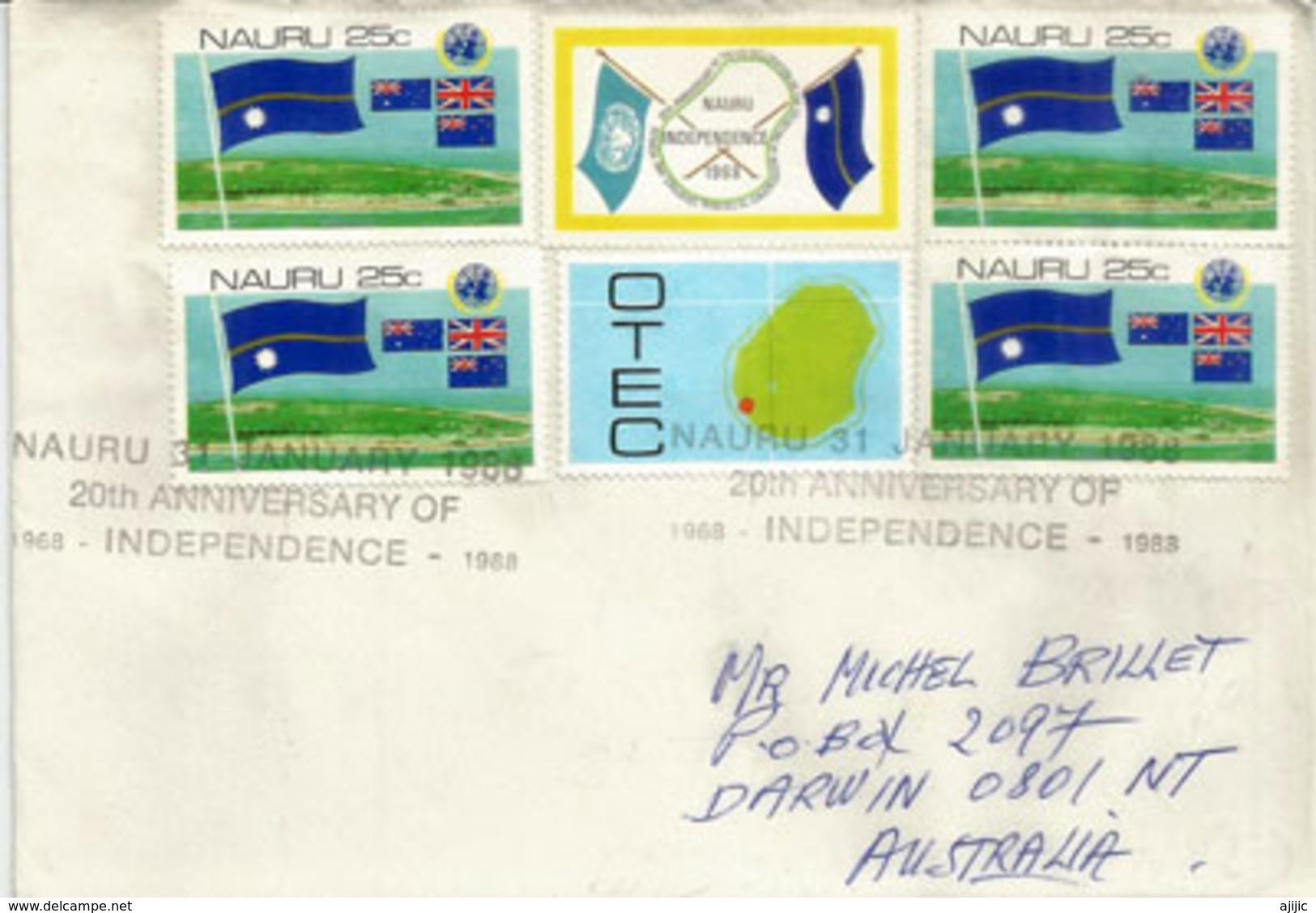 Belle Lettre De L´ile Nauru Adressée A Darwin (Australie) En 1988 (Oblitération Spéciale 20 Ième Anniv.Independance) - Nauru