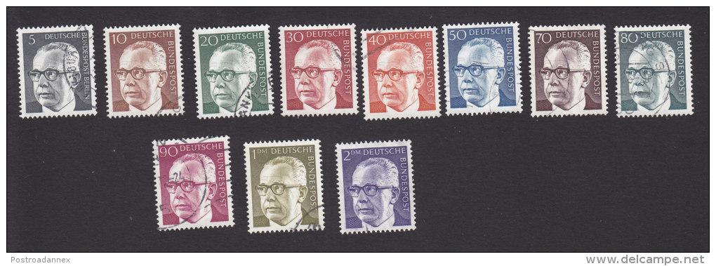 Germany, Scott #1028-1030, 1031-1033, 1035-1038, 1044, Used, Pres. Gustav Heinemann, Issued 1970-73 - [7] Federal Republic