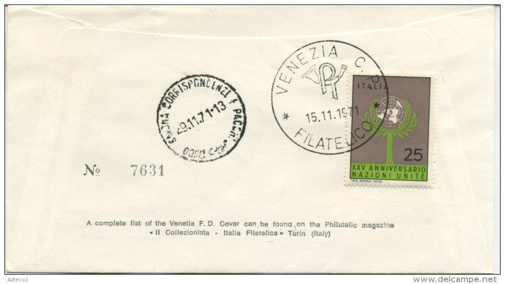 ITALIA - FDC  VENETIA 1971 -  POSTA AEREA  LIRE 100 - CAMPIDOGLIO - VIAGGIATA PER SAVONA - F.D.C.