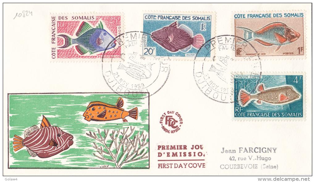 10824# COTE FRANCAISE DES SOMALIS Obl DJIBOUTI FAUNE MARINE POISSON 1959 1er JOUR D´ EMISSION FIRST DAY COVER - Côte Française Des Somalis (1894-1967)