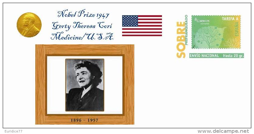 Spain 2013 - Nobel Prize 1947 Medicine - Gerty Theresa Cori/United States Special Prepaid Cover - Premio Nobel