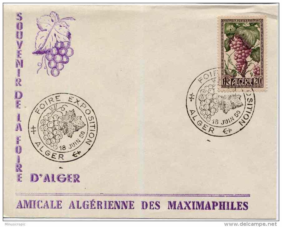 Enveloppe - Souvenir De La Foire D'Alger - Amicale Algérienne Des Maximaphiles - 10 Juin 1950 - Algeria (1924-1962)