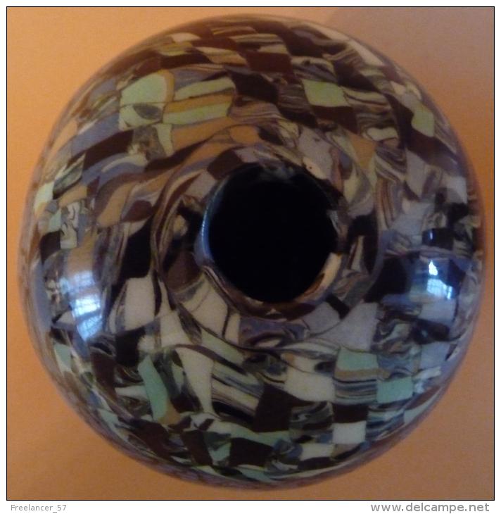 "Boule Gerbino En Céramique ""mosaïquée"" à Dominante Bleu-vert - Vallauris (FRA)"