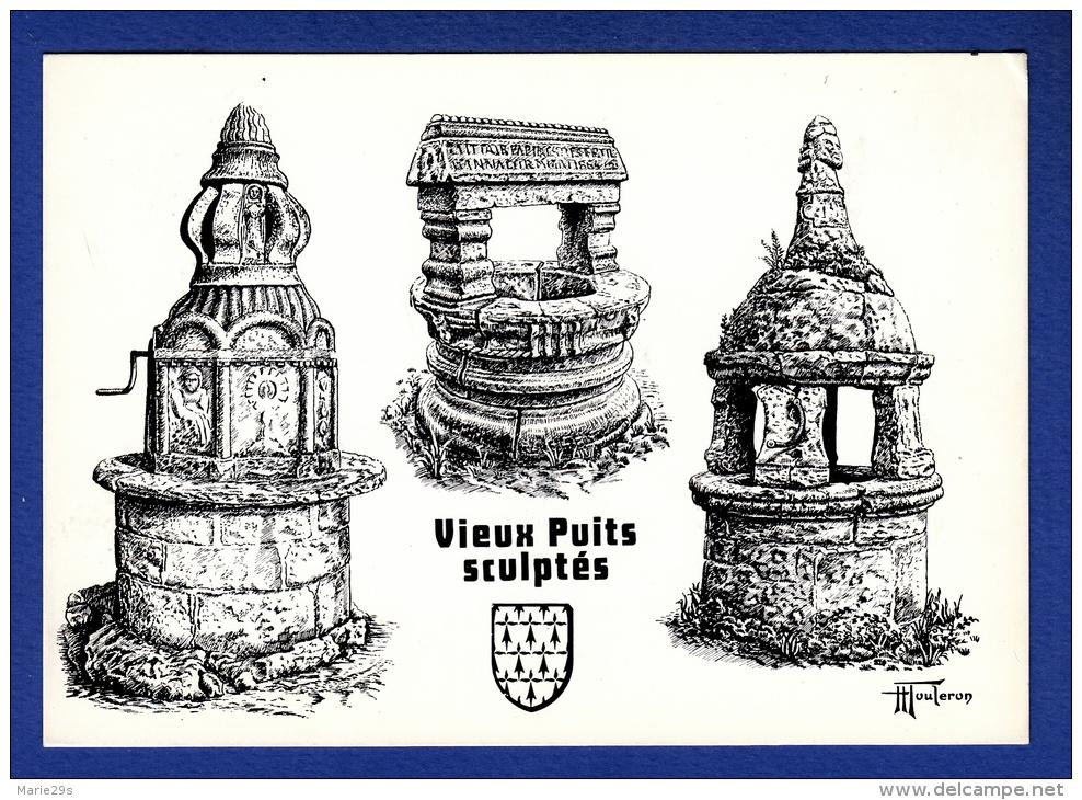 56 MELRAND, PLONEVEZ-PORZAY, PONT AVEN, Anciens Puits Sculptés 3 Vues D'après H. Touleron - Bretagne