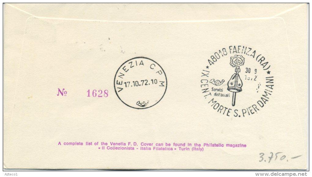 ITALIA - FDC VENETIA 1972 - SAN PIER DAMIANI - ANNULLO SPECIALE FAENZA - QUARTINA RACCOMANDATA PER VENEZIA - F.D.C.