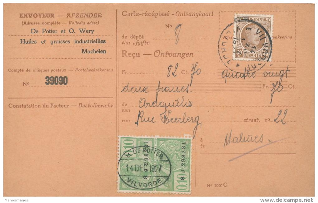 876/21 - 3 Cartes-Récépissés TP Houyoux Et Montenez VILVOORDE 1922/27  - Entetes Huiles De Potter - 1922-1927 Houyoux