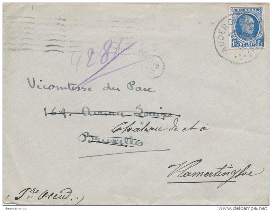 878/21 -  Lettre TP Houyoux AUDERGHEM Vers BXL , Réexpédiée à VLAMERTINGHE - 1922-1927 Houyoux