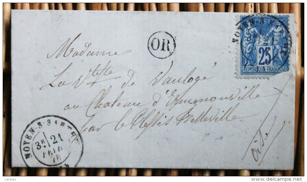 Lettre Affranchie Type Sage Pour Le Plessis Belleville Oblitération Type 17 Noyen Sur Sarthe - Postmark Collection (Covers)