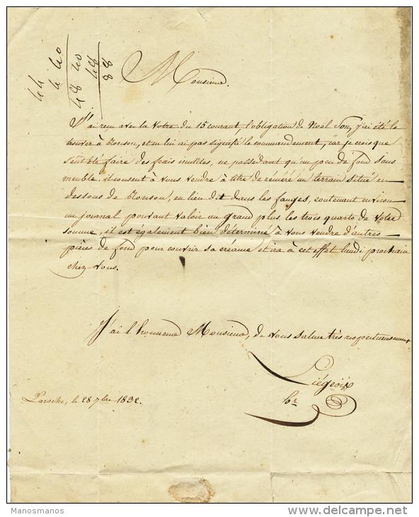 935/21 - Lettre Avec Texte Par Porteur - LAROCHE 1832 Vers Notaire à MARCHE - Pas De Marque De Port - 1830-1849 (Belgique Indépendante)