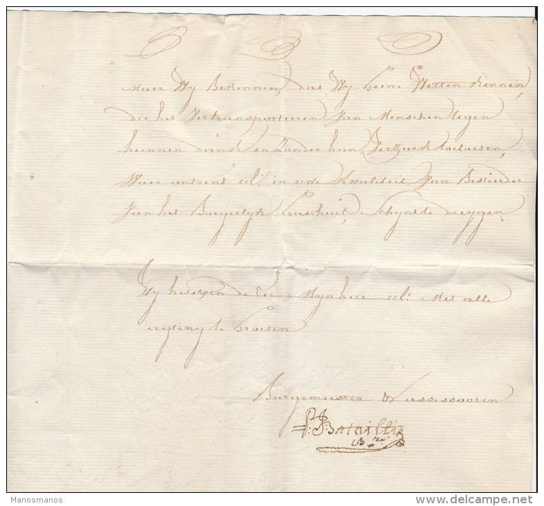 937/21 - Lettre Avec Texte Par Porteur - WATOU 1835 Vers Burgerlijk Gasthuis POPERINGHE - Pas De Marque De Port - 1830-1849 (Belgique Indépendante)