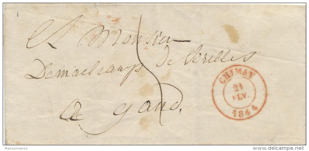 941/21 - Lettre Précurseur CHIMAY 1844 Vers GAND - Port 5 Décimes - 1830-1849 (Belgique Indépendante)