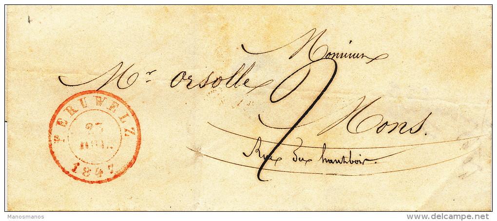 943/21 - Lettre Précurseur PERUWELZ 1847 Vers MONS - Port 2 Décimes - 1830-1849 (Belgique Indépendante)