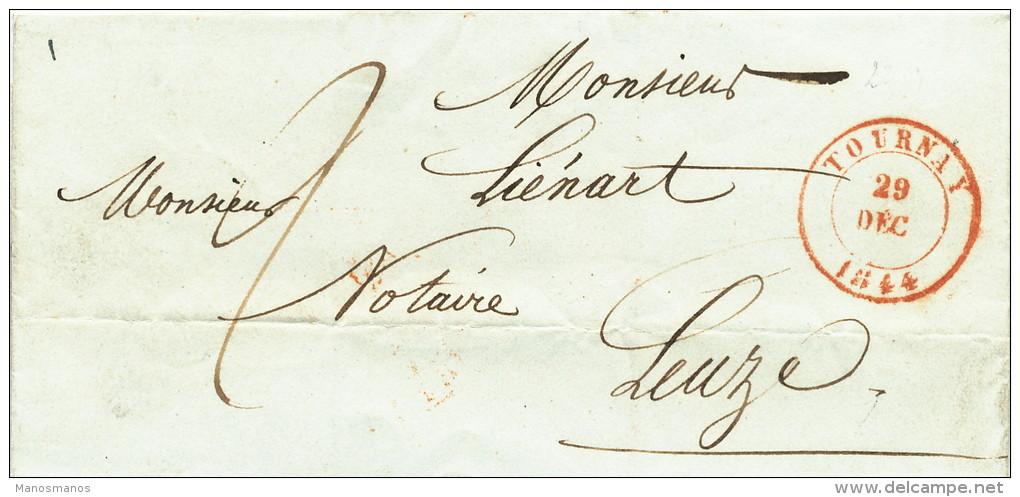 945/21 - Lettre Précurseur TOURNAY 1844 Vers Notaire Liénart à LEUZE - Port 2 Décimes - 1830-1849 (Belgique Indépendante)