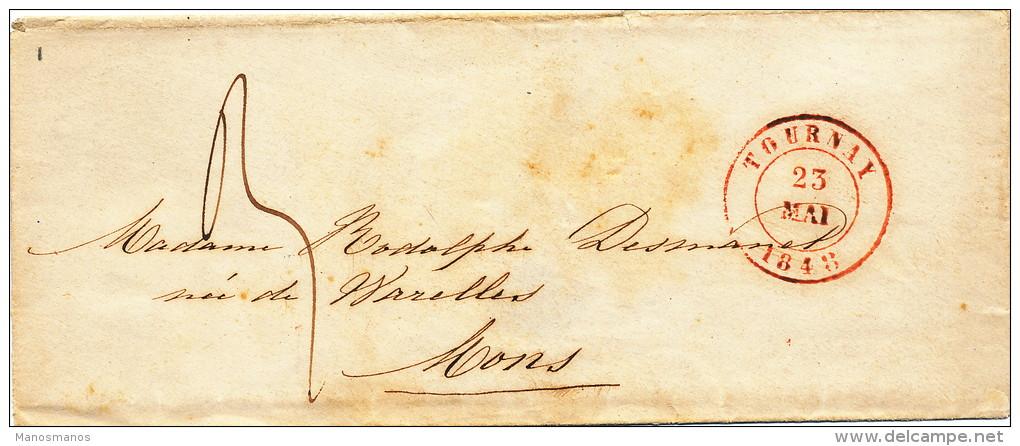 946/21 - Lettre Précurseur TOURNAY 1848 Vers MONS - Port 3 Décimes - 1830-1849 (Belgique Indépendante)