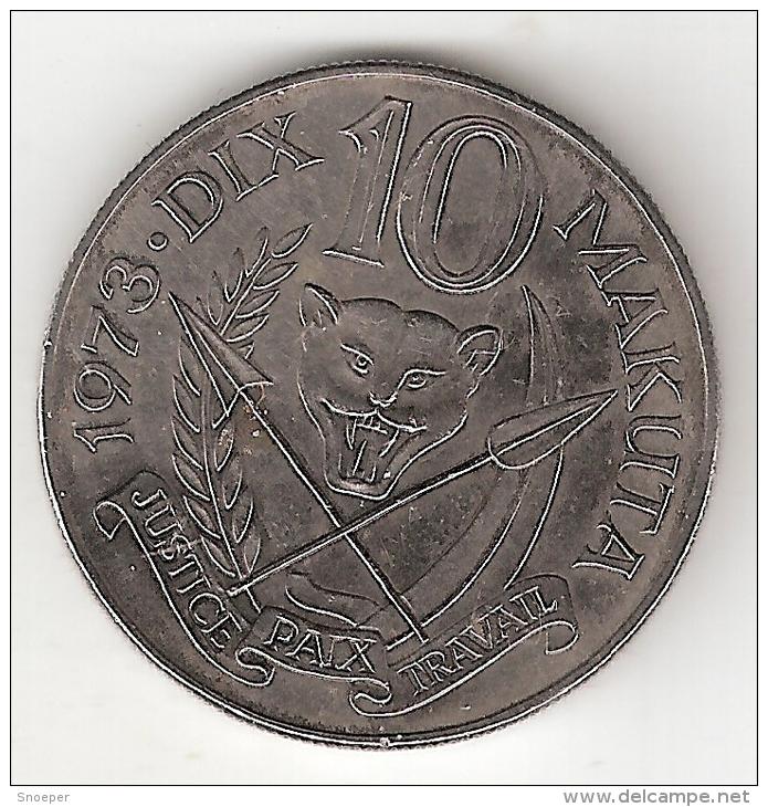 Zaire 10 Makuta 1973 Km 7  Xf+ !!!! Look !!! - Zaire (1971-97)