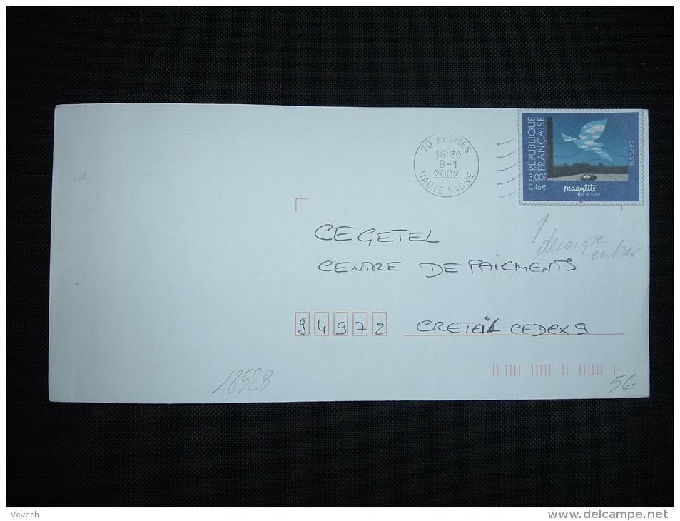 LETTRE DECOUPE ENTIER MAGRITTE 3,00F OBL.MEC. 09-1-2002 PESMES (70 HAUTE-SAONE) - Curiosità: 2000-09 Storia Postale