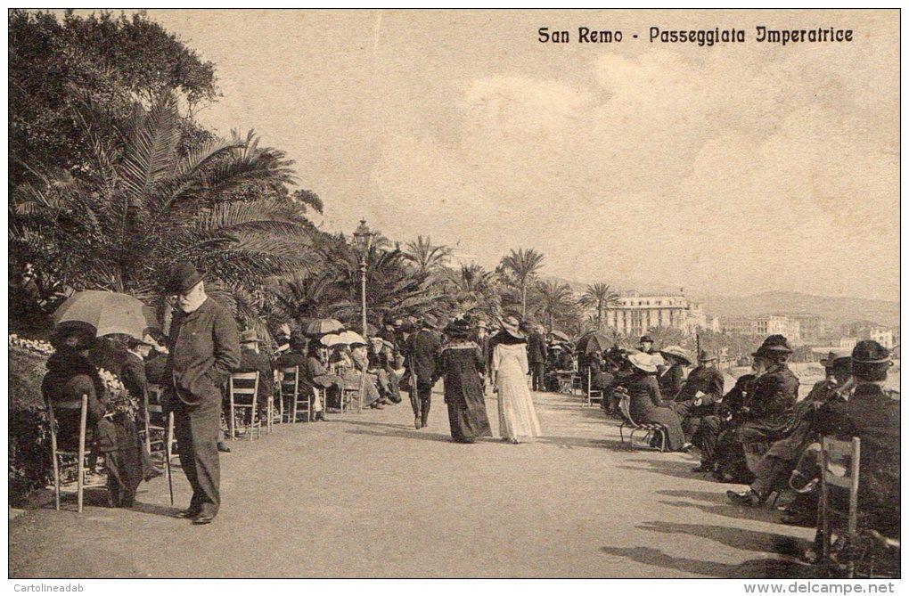 [DC6614] SAN REMO (IMPERIA) - PASSEGGIATA IMPERATRICE - Viaggiata 1914 - Old Postcard - Imperia
