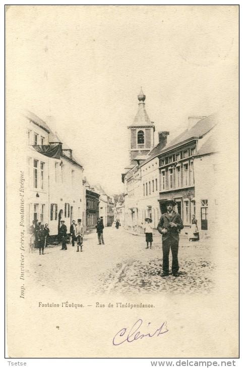 Fontaine L'Evêque - Rue De L'Indépendance - 1902 - Précurseur, Belle Animation ( Voir Verso ) - Fontaine-l'Evêque