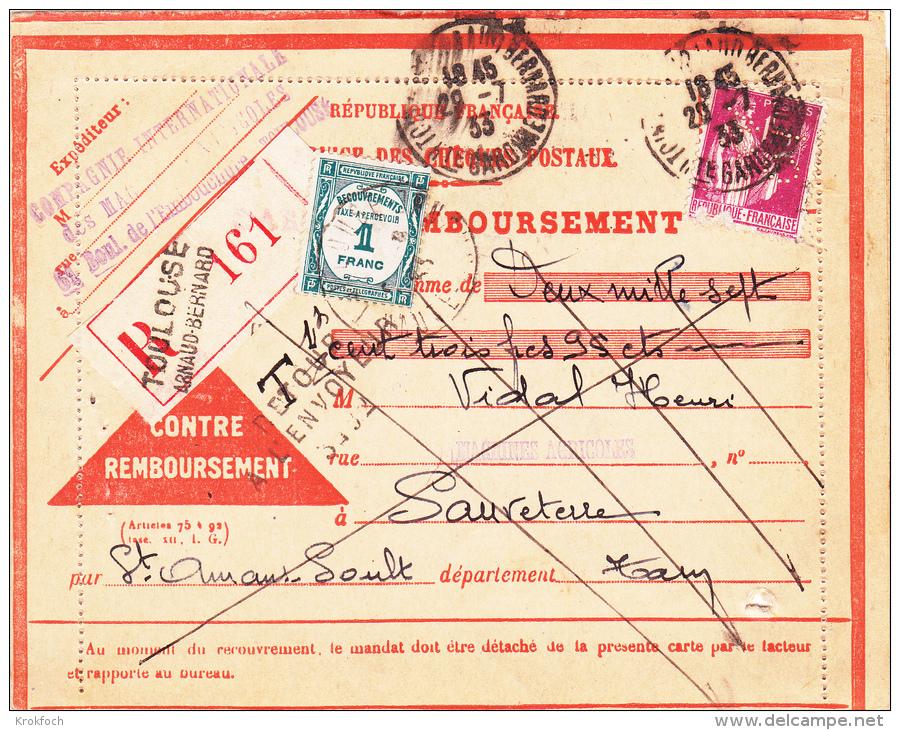 Paix Perforé CIMA Sur Avis Taxé 1933 Recommandé Toulouse Arnaud Bernard - Machines Agricoles - !!! Timbre Défectueux - Perforés