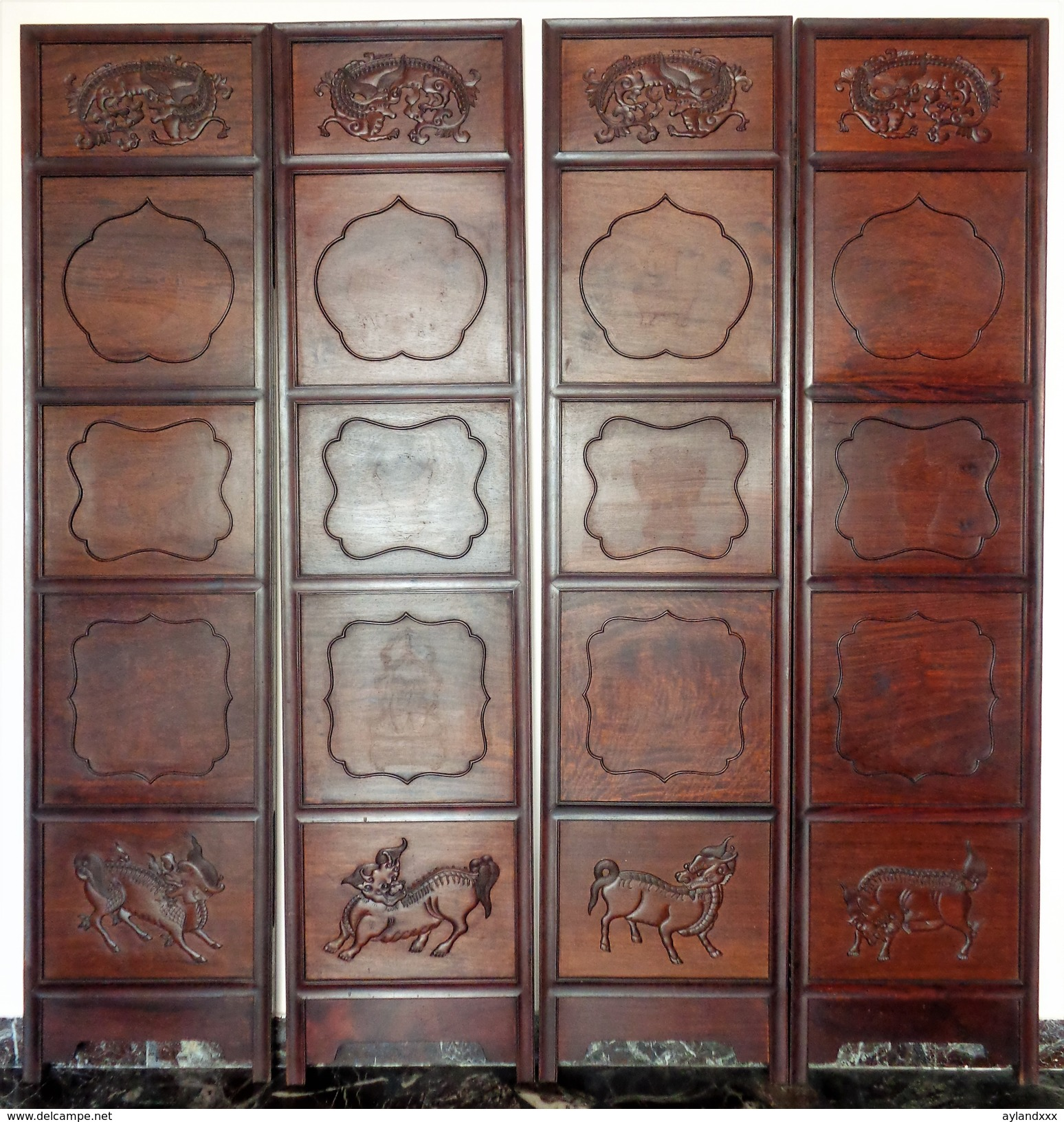 CINA (China): Fine Chinese Panels Screen Made In Hardwood (Rosewood ?) - Arte Orientale