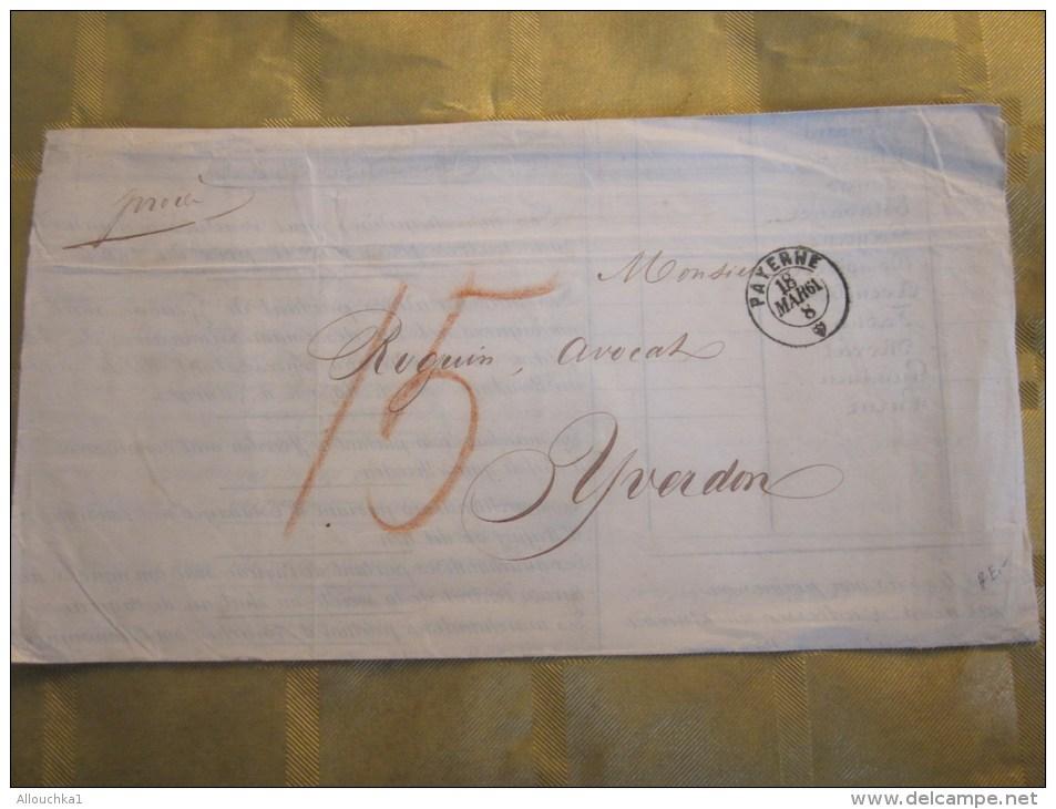 RARE 19 Mars 1861 Lettre Connaissement Bill Of Lading Bateau Vapeur-Payerne Suisse Helvetia Pr Yverdon Cachet Cire - 1854-1862 Helvetia (Non-dentelés)
