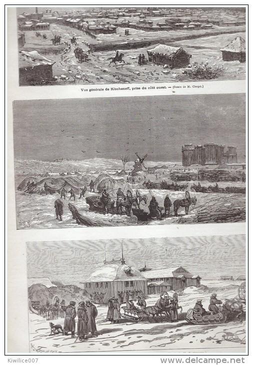 GRAVURE D Epoque   1877 BESSARABIE  Kichinev  Kischeneff  Roumanie Russie  Duc Nicolas    Hotel  Katarje  Bazar - Old Paper