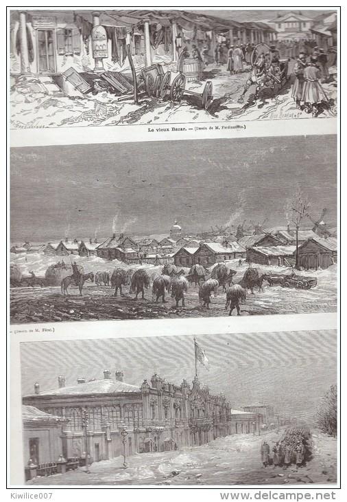 GRAVURE D Epoque   1877 BESSARABIE  Kichinev  Kischeneff  Roumanie Russie  Duc Nicolas    Hotel  Katarje  Bazar - Vieux Papiers