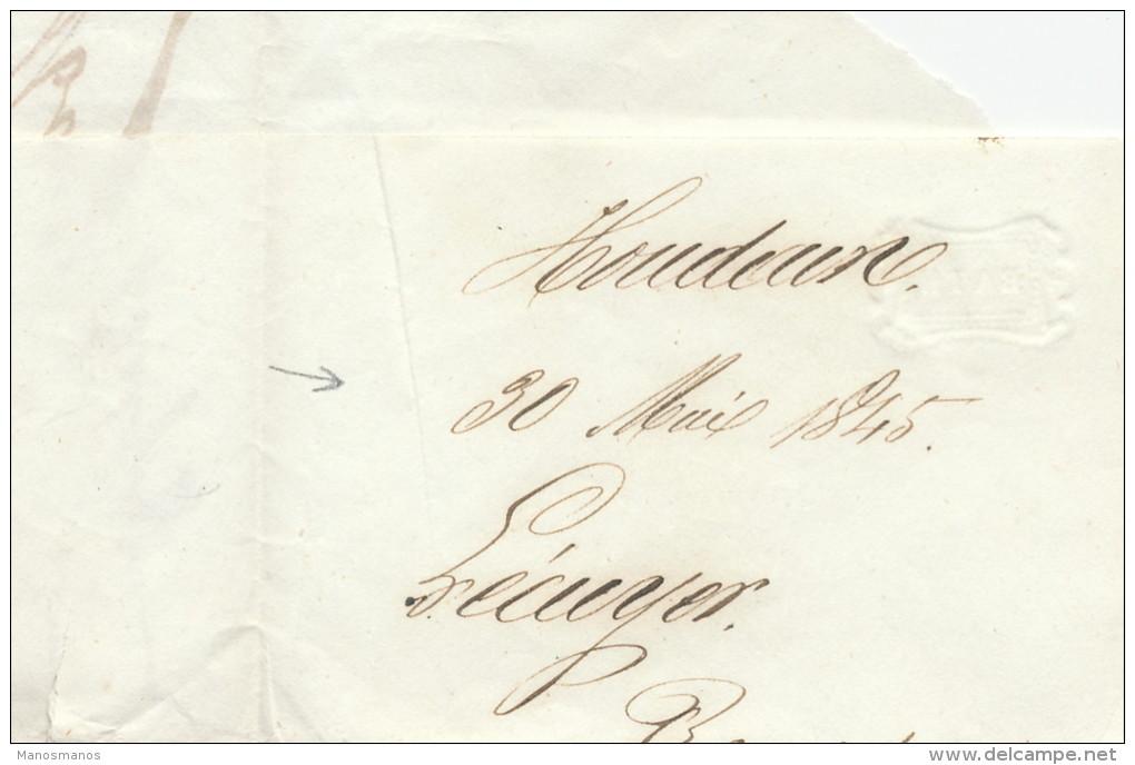 954/21 - Lettre Précurseur Type 18 DOUR 1845 Vers MONS - De Lecuyer à H - Port 2 Décimes - 1830-1849 (Belgique Indépendante)