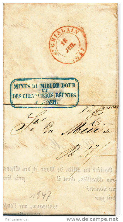 955/21 - Lettre Précurseur Des CharbonnagesType 18 DOUR 1847 Vers ST GHISLAIN En SR - Port  3 Décimes - 1830-1849 (Belgique Indépendante)