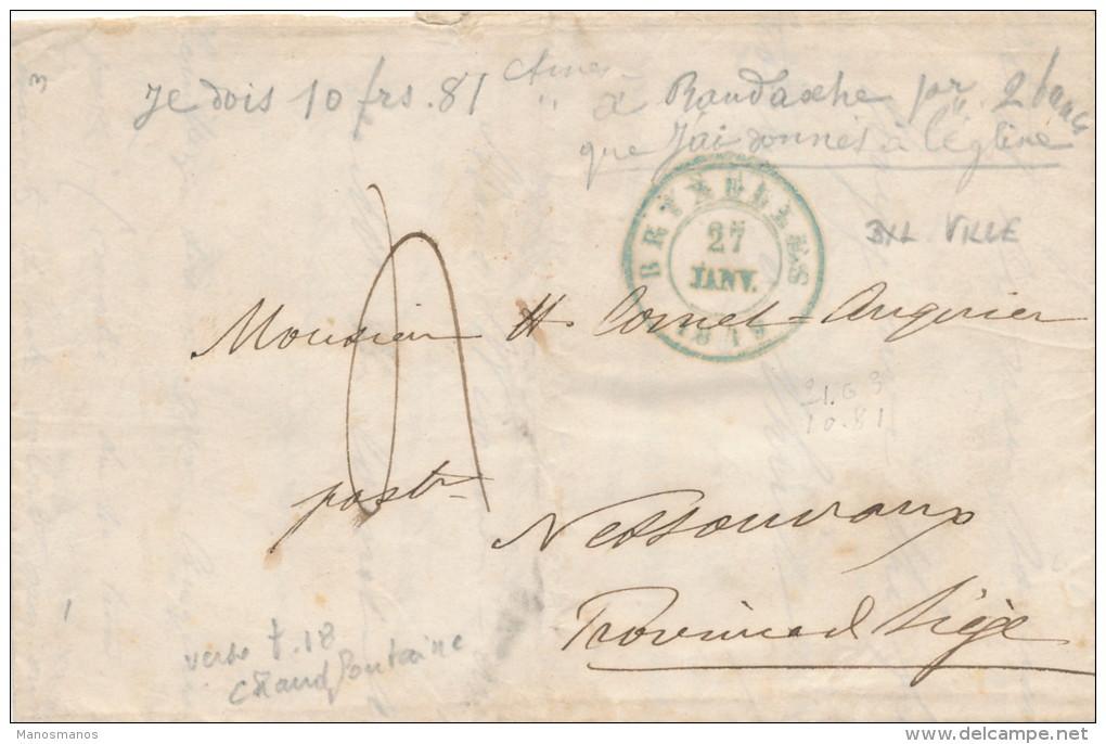 959/21 - Lettre Précurseur BRUXELLES 1849 Vers NESSONVAUX Via Type18 CHAUDFONTAINE  - Port  4 Décimes - 1830-1849 (Belgique Indépendante)