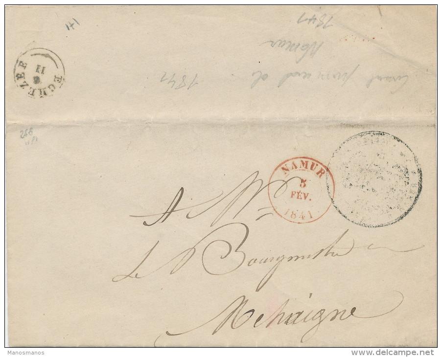 960/21 - Lettre Précurseur NAMUR 1841 Vers MEHAIGNE Via Type18 EGHEZEE  - En Franchise - 1830-1849 (Belgique Indépendante)