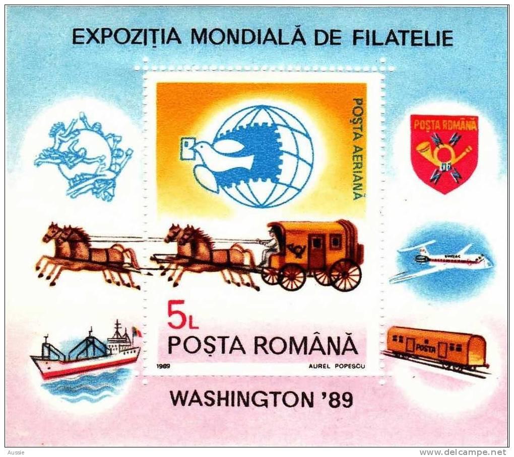 Roumanie Roemenie  1989 Yvertn° Bloc 206 *** MNH  Cote 3,50 Euro Chevaux Paarden - Hojas Bloque