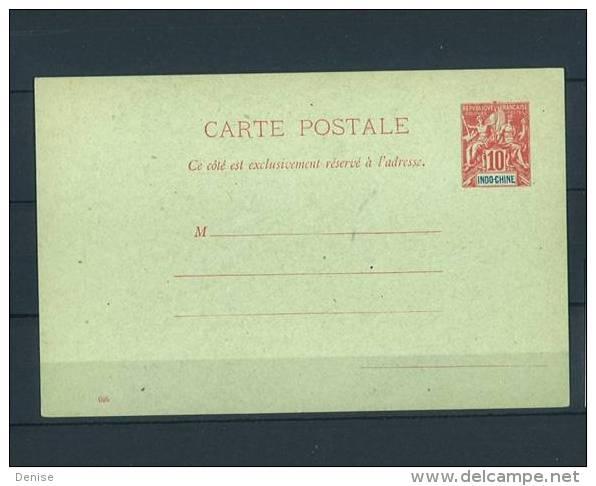 Entier  Indochine Type Groupe Carte Postale 10cts - Briefe U. Dokumente
