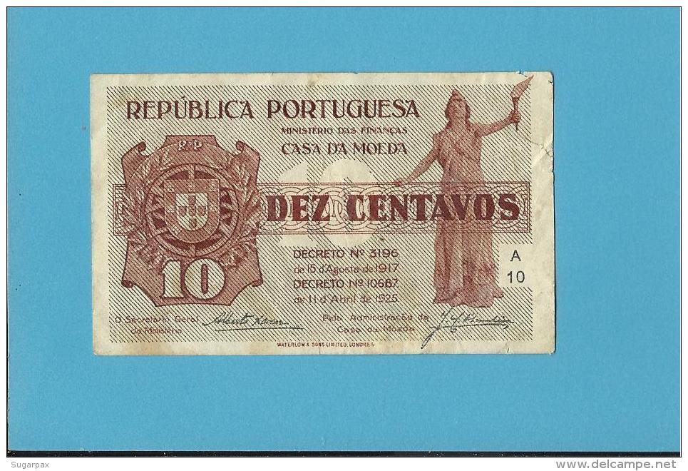CÉDULA De 10 CENTAVOS - SÉRIE A10 - CASA DA MOEDA - PORTUGAL - EMERGENCY PAPER MONEY - NOTGELD - Portugal