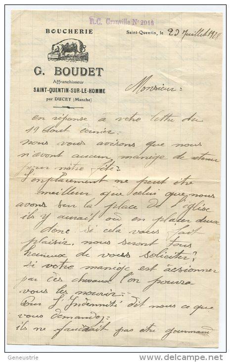 """Petit Papier à Entête 1928 """"Boucherie G. Boudet"""" Saint Quentin-sur-le-Homme (près Avranches) - Manche - Normandie - France"""