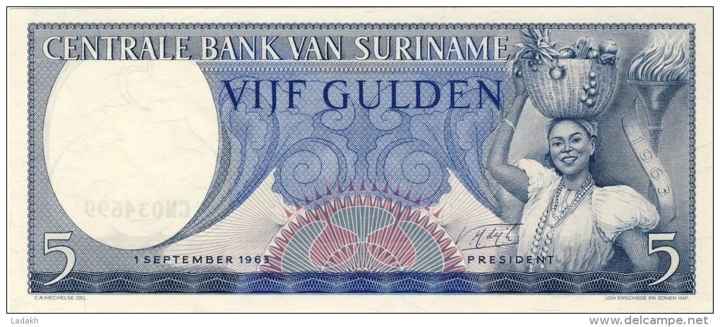 BILLET # SURINAM # 5 GULDENS  # 1963  # PICK 30 # NEUF # - Surinam