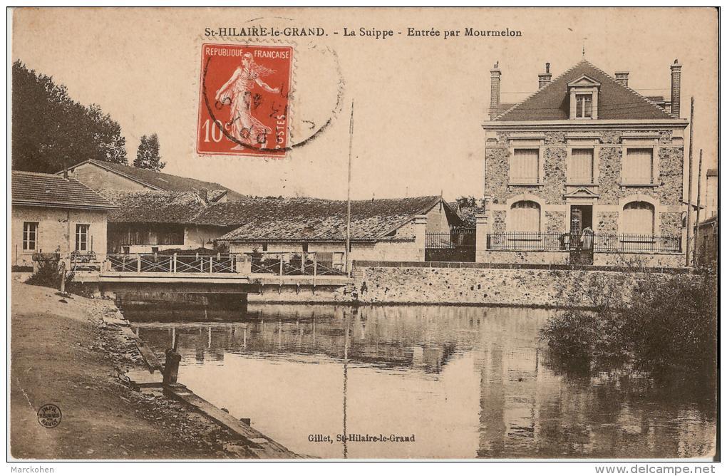 MARNE : St-Hilaire-le Grand - La Rivière Suippe Entrant Dans La Ville Par Mourmelon (photo Rare) - Autres Communes