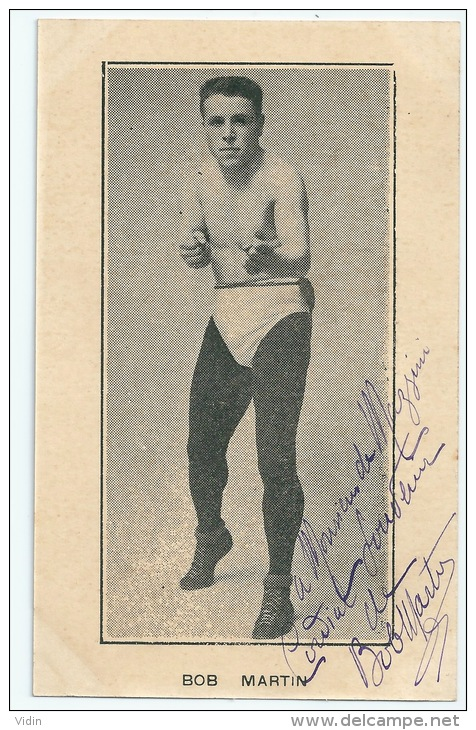 Carte Autographe Bob Martin Boxeur - Carte Originale - Boxing