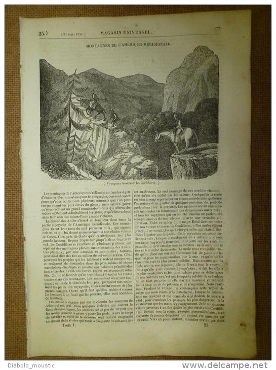 20 Mars.1834  MAGASIN UNIVERSEL: Mémoire Fantastique De L´aveugle ALICK;Tombeau Du Christ;Les Tipules - Zeitungen