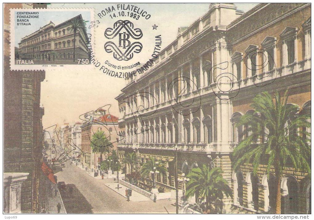 """Roma - Via Nazionale - Palazzo Della Banca D'Italia   """"MAXIMUM  CARD"""" - Cartoline"""
