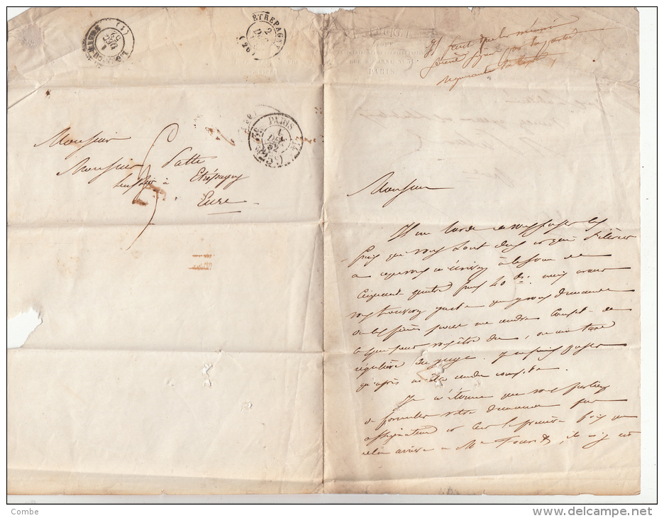 1852, Lettre De PARIS Pour ETREPAGNY EURE, POURET AVOUE, Rue St Anne, Taxe PARIS 25C /4594 - 1849-1876: Klassik