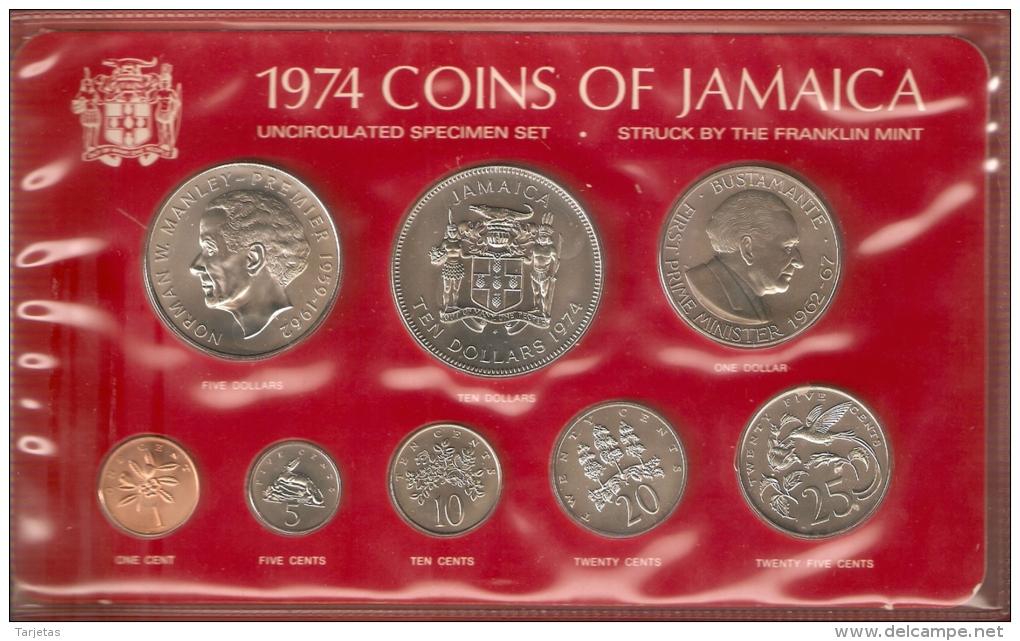 SERIE COMPLETA DE 8 MONEDAS DE JAMAICA DEL AÑO 1974 EN SU ESTUCHE ORIGINAL (COIN) PLATA-SILVER,ARGENT. - Jamaica
