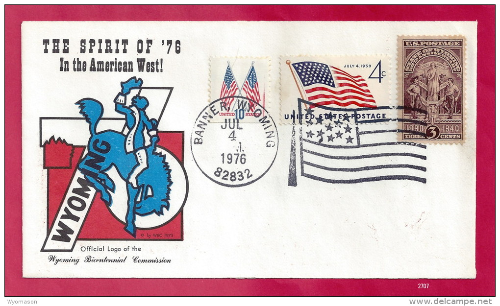 Celebrating Old Glory & The Spirit Of '76 - Banner, Wyoming - July 4, 1976 [#2707] - Event Covers