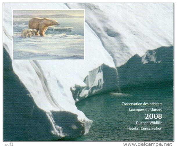 Carnet Habitats Fauniques Du Québec 2008 - Ours Blanc - Sans Le Timbre - Unclassified