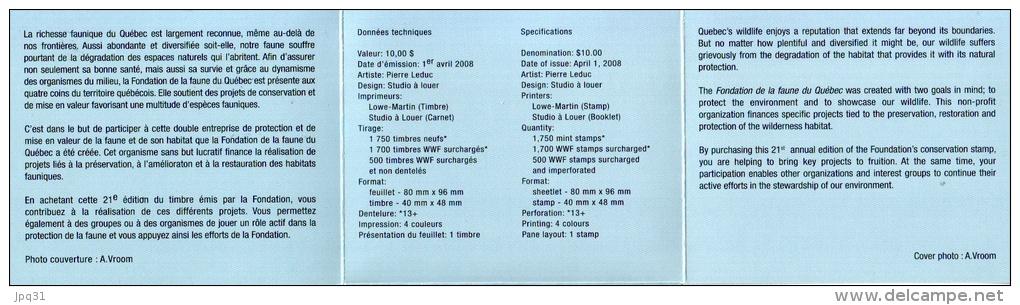 Carnet Habitats Fauniques Du Québec 2008 - Ours Blanc - Sans Le Timbre - Non Classés
