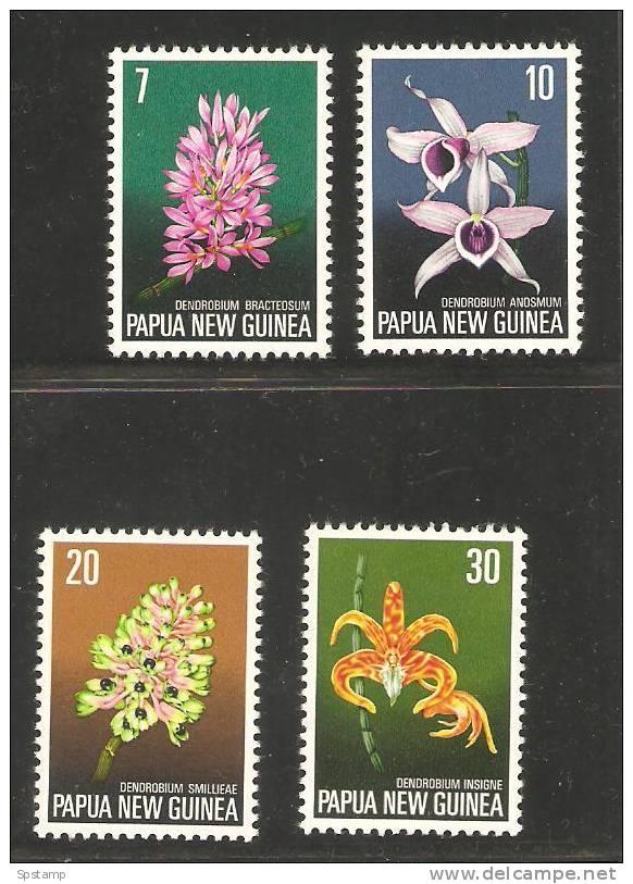 Papua New Guinea 1974 Flower Set 4 MNH Orchids - Papouasie-Nouvelle-Guinée