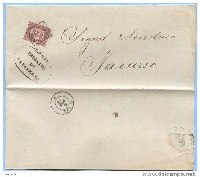 CALABRIA 1875 SERVIZIO 0,20 ISOLATO PIEGO COMPLETO ANNULLO QUADRATO CATANZARO ARRIVO 8 FEB 75 …SEGUE DESCRIZIONE (S83) - 6. 1946-.. Repubblica