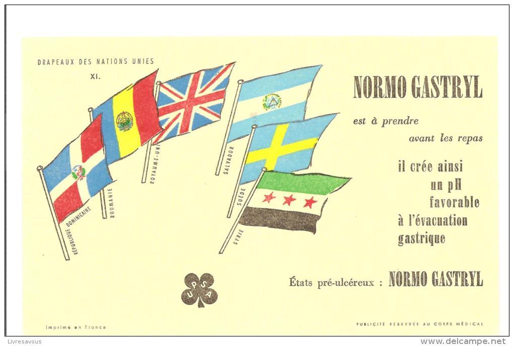 Buvard UPSA  Normo Gastryl Collection Des Drapeaux Des Nations Unies N°XI - Droguerías