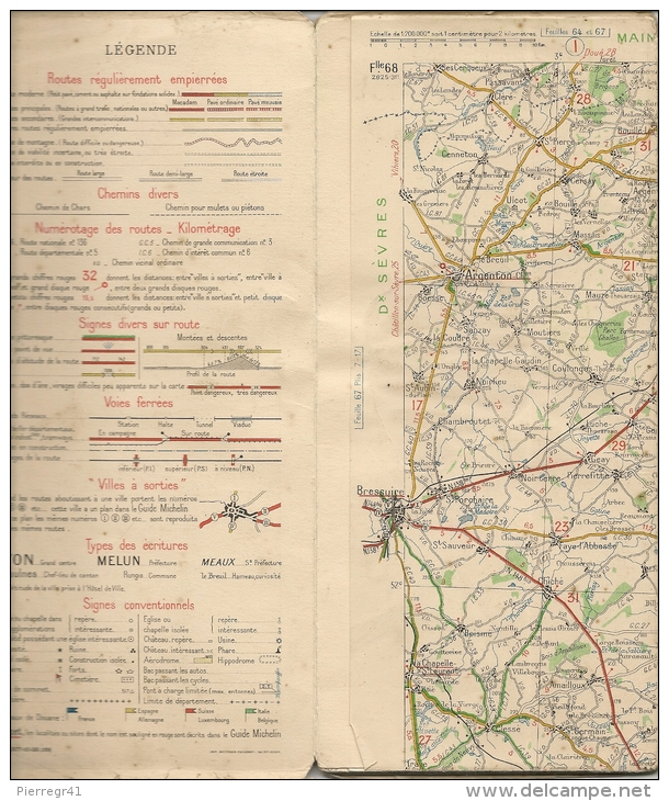 CARTE-ROUTIERE-MICHELIN-N °68-1928-N°2825-311-NIORT-CHATAEURO UX- B E - Cartes Routières