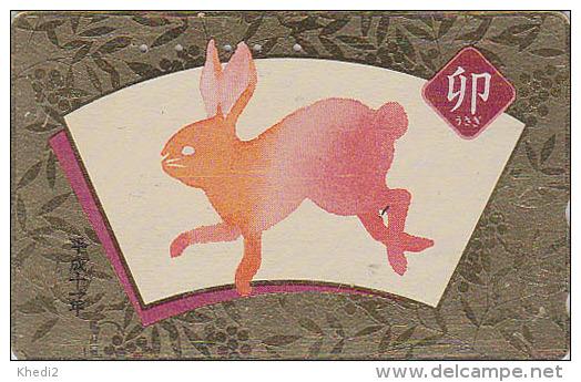 Télécarte Dorée Japon - ZODIAQUE Chinois - LAPIN - RABBIT Horoscope Zodiac Japan Gold Phonecard - HASE - 386 - Zodiaco